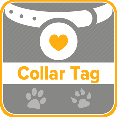 Pet microchip collar tags available.